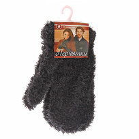 Варежки махровые с ворсом ″Зимушка″ цвет черный, h-17см купить оптом и в розницу