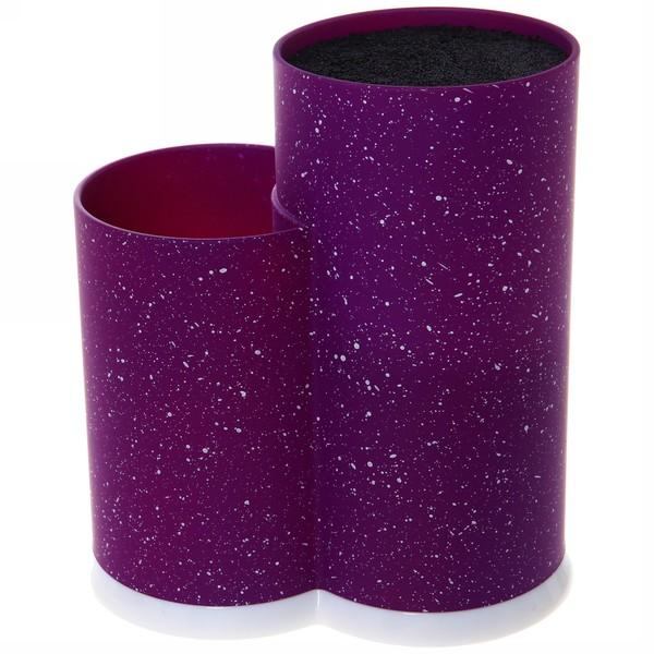 Подставка для ножей и кухонных принадлежностей ″Мрамор″ с черным наполнителем h22,5см фиолетовая купить оптом и в розницу