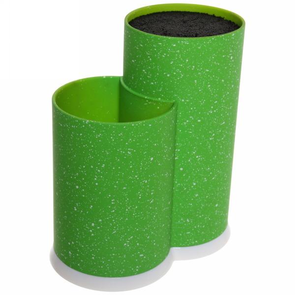 Подставка для ножей и кухонных принадлежностей ″Мрамор″ с черным наполнителем h22,5см зеленая купить оптом и в розницу