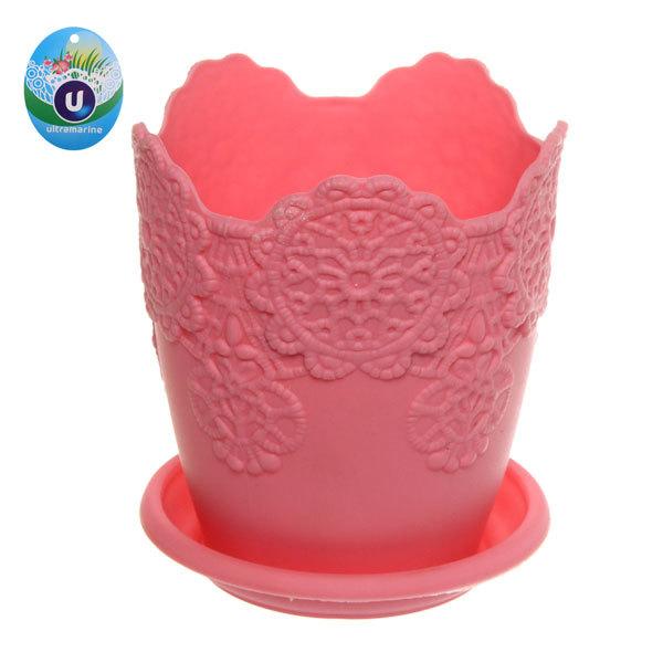 Горшок для цветов ЭКО Ажур″ 10*9см JX2821 розовый купить оптом и в розницу