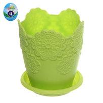 Горшок для цветов ЭКО Ажур″ 10*9см JX2821 зеленый купить оптом и в розницу