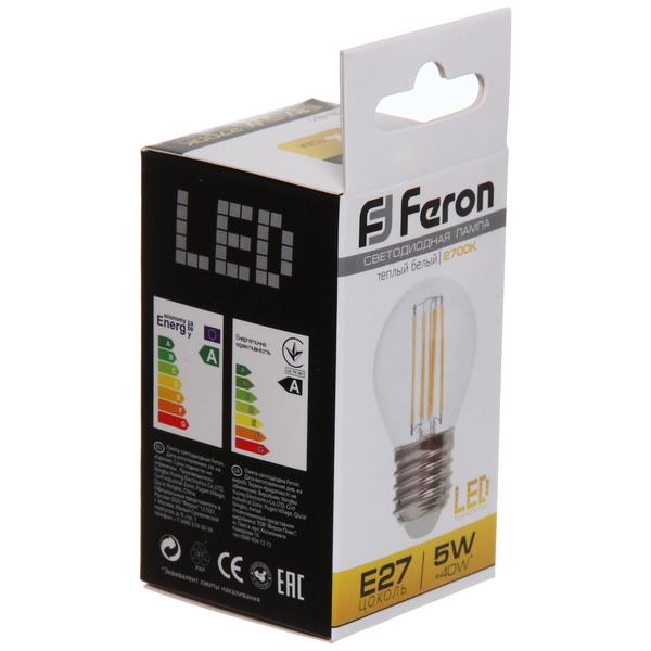 Лампа светодиод.филамент ШАР 5Вт E27 2700K малый теплый белый G45 LB-61 Feron купить оптом и в розницу
