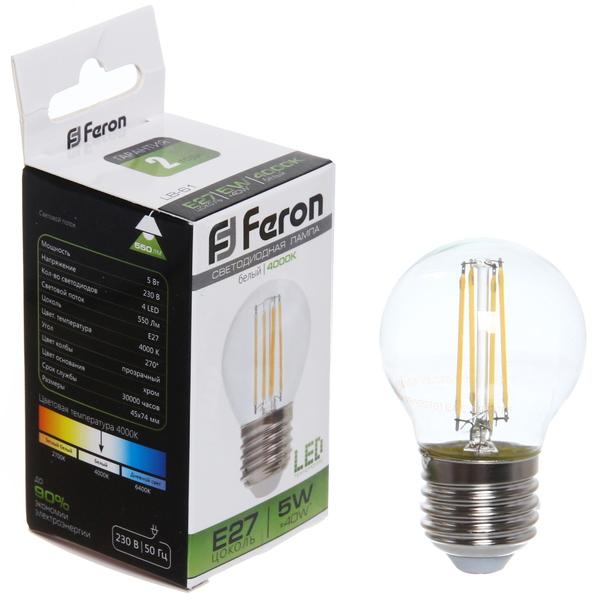 Лампа светодиод.филамент ШАР 5Вт E27 4000K малый белый G45 LB-61 Feron купить оптом и в розницу