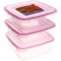 Набор контейнеров 3 шт ″Каскад″ 0,7л квадратные купить оптом и в розницу