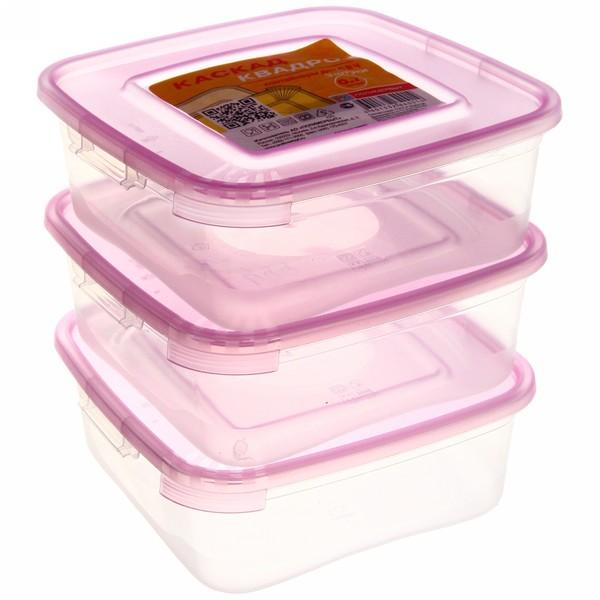 Набор контейнеров 3 шт ″Каскад″ 0,7л квадратный *19 (ПБ) 64001 купить оптом и в розницу