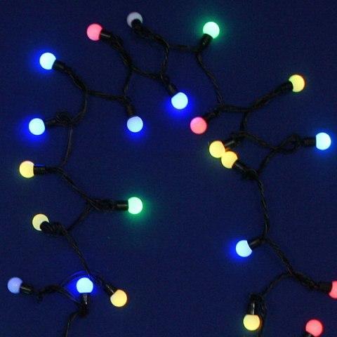 Гирлянда для дома 5м 50 ламп LED с насадками Большие шары 1,6см, чёрный пров. Мультицвет (можно соединять) купить оптом и в розницу
