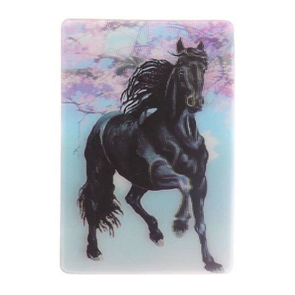 Магнит голограмма ″Черный конь″ 50х75мм 3 купить оптом и в розницу