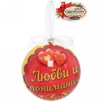 Ёлочный шар пластик с бантом 7 см ″Любви и понимания!″ купить оптом и в розницу