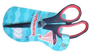 Ножницы   170мм YIWU металл., двухцветн. ассиметр. ручки, бл. купить оптом и в розницу