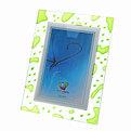 Фоторамка 10*15 стекло витраж прозрачный с зелеными пятнами/6111 купить оптом и в розницу