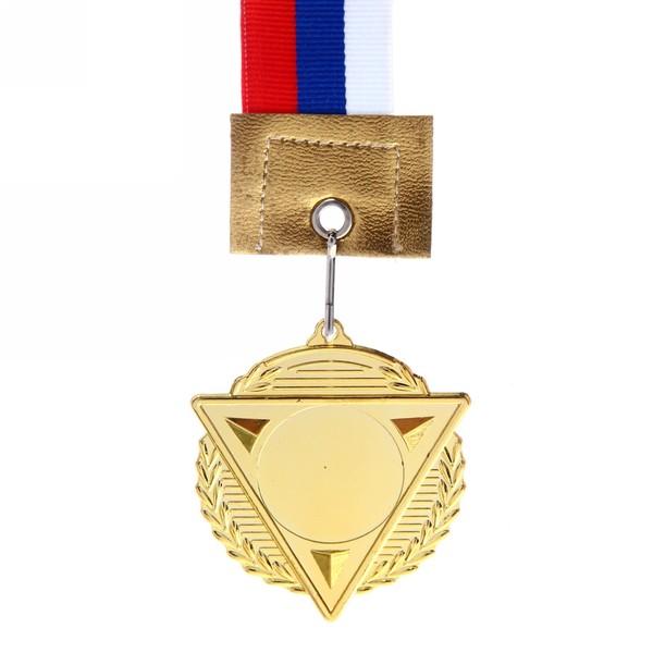 Медаль с лентой Россия треугольник 1 место (cредняя) d-50 (В6-142) купить оптом и в розницу