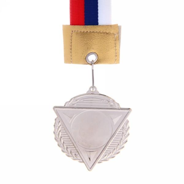 Медаль с лентой Россия треугольник 2 место (cредняя) d-50 (В6-143) купить оптом и в розницу