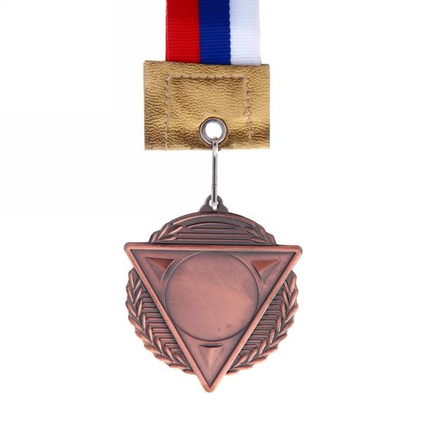 Медаль с лентой Россия треугольник 3 место (cредняя) d-50 (В6-144) купить оптом и в розницу