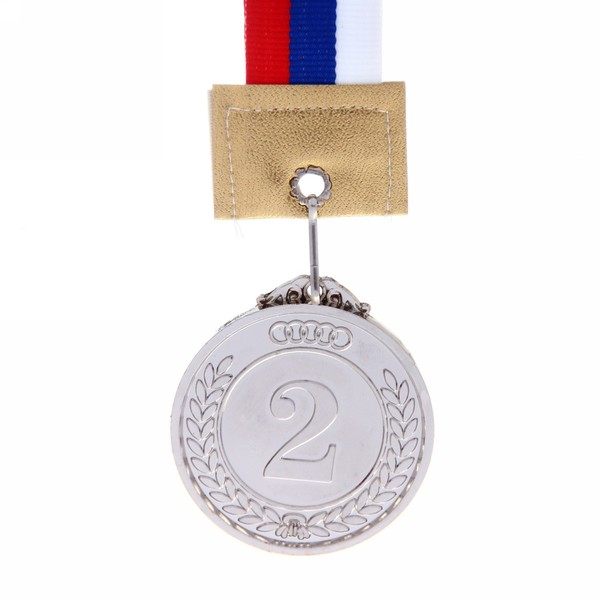 Медаль с лентой Россия с олимпийскими кольцами NEW 2 место (средняя) d-50 (В6-149) купить оптом и в розницу