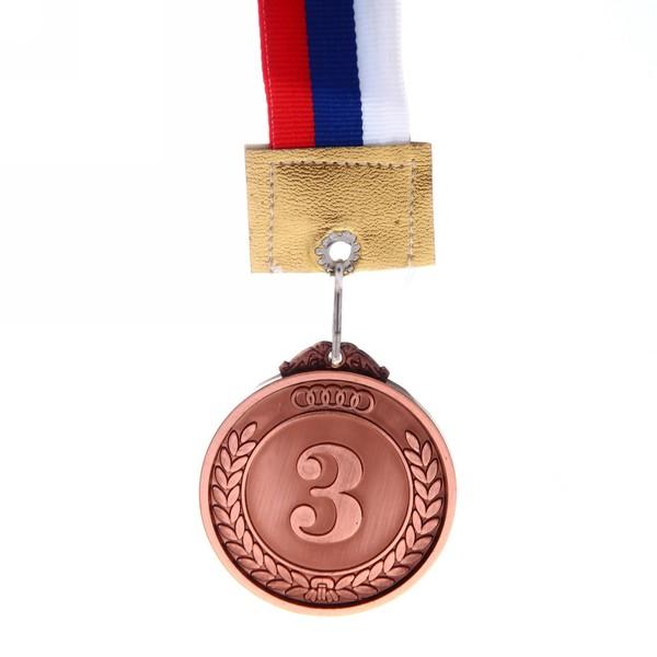 Медаль с лентой Россия с олимпийскими кольцами NEW 3 место (средняя) d-50 (В6-150) купить оптом и в розницу