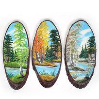 Панно из натурального камня на срезе дерева 40-44 см купить оптом и в розницу