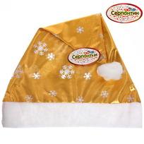 Колпак новогодний, золото ″Золотые снежинки″, 28*38см купить оптом и в розницу