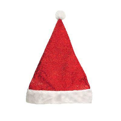 Колпак новогодний красный ″Мерцание″ двухслойный 28*38см купить оптом и в розницу