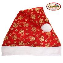 Колпак новогодний, красный ″Рождественские ангелочки″ двухслойный 28*38см купить оптом и в розницу