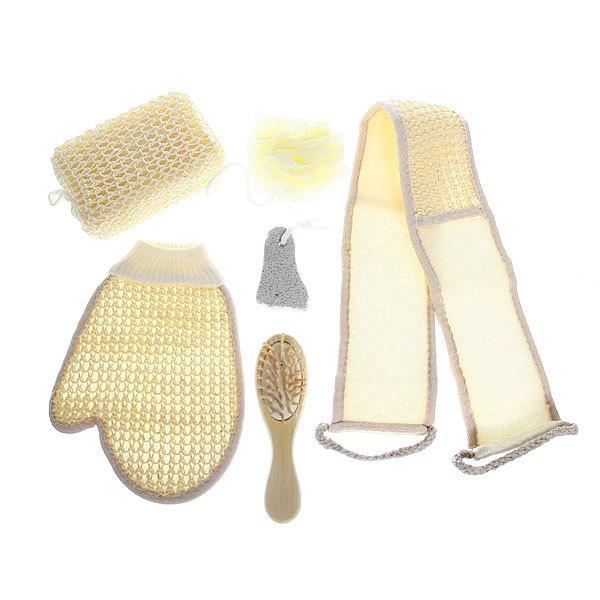 Банный набор в косметичке ″В баньку″ из 6 предметов (четыре различных мочалки, пемза и расческа) купить оптом и в розницу