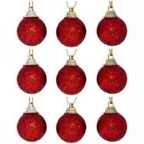 Новогодние шары 3 см (набор 9 шт) ″Посыпка из блёсток″, красный купить оптом и в розницу