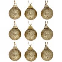 Новогодние шары 3 см (набор 9 шт) ″Посыпка из блёсток″, золотой купить оптом и в розницу