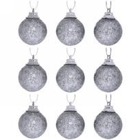 Новогодние шары 3 см (набор 9 шт) ″Посыпка из блёсток″, серебро купить оптом и в розницу