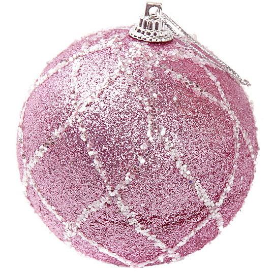 Новогодние шары ″Гламурный бум″ 8см (набор 2шт.) купить оптом и в розницу