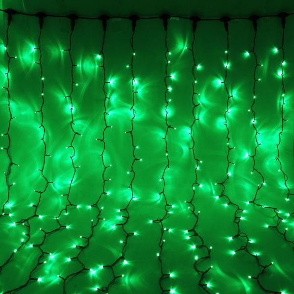 Занавес светодиодный уличный ш 1,85 * в 3,15м, 432 лампы LED,″Дождь″, Зеленый, 8 реж, черн.пров купить оптом и в розницу