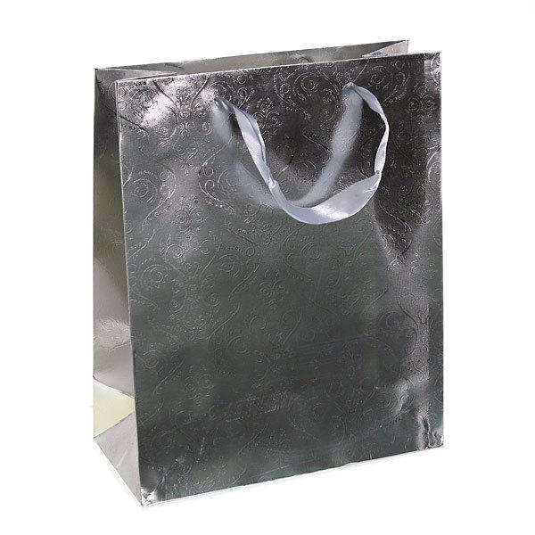 Пакет подарочный ″Серебряный″ голограмма 32*26*12 3201 купить оптом и в розницу