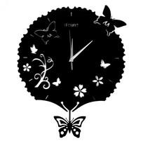 Часы настенные ″Бабочки″ с маятником d-40см TFP 1860 купить оптом и в розницу
