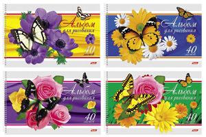 """Альбом д/рис.А4 40л, спир.HATBER, """"Бабочки с цветами"""", перфорация купить оптом и в розницу"""