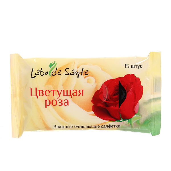 Салфетки влажные 15шт. ″Labo de Sante″ очищающие ″Цветущая роза″ купить оптом и в розницу