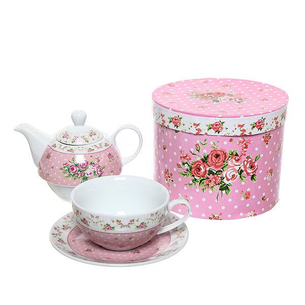 Набор чайный керамический 3 предмета (чайник 250мл +чайная пара200мл) ″Розы″ розовый купить оптом и в розницу