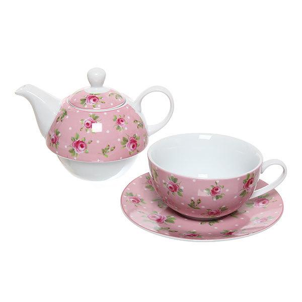 Набор чайный керамический 3 предмета (чайник 250мл +чайная пара200мл) ″Розочки″ розовый купить оптом и в розницу