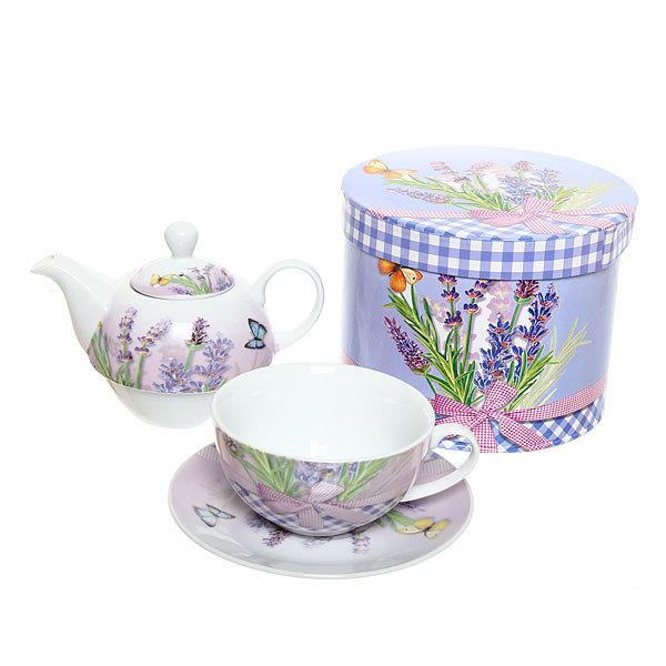 Набор чайный керамический 3 предмета (чайник 250мл +чайная пара200мл) К3188-1010 купить оптом и в розницу