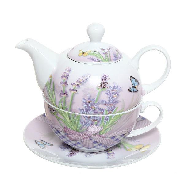 Набор чайный керамический 3 предмета (чайник 250мл +чайная пара200мл) ″Флоксы″ купить оптом и в розницу