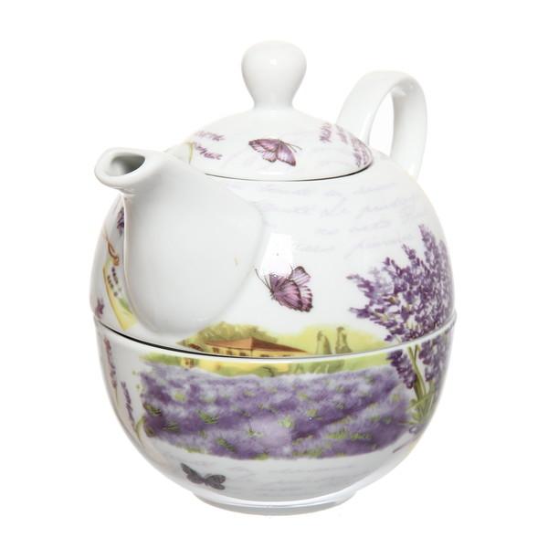 Набор чайный керамический 3 предмета (чайник 250мл +чайная пара200мл) ″Сирень″ купить оптом и в розницу