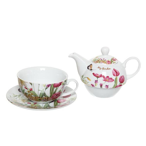 Набор чайный керамический 3 предмета (чайник 250мл +чайная пара200мл) ″Тюльпаны″ купить оптом и в розницу