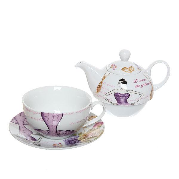 Набор чайный керамический 3 предмета (чайник 250мл +чайная пара200мл) ″Дама″ купить оптом и в розницу