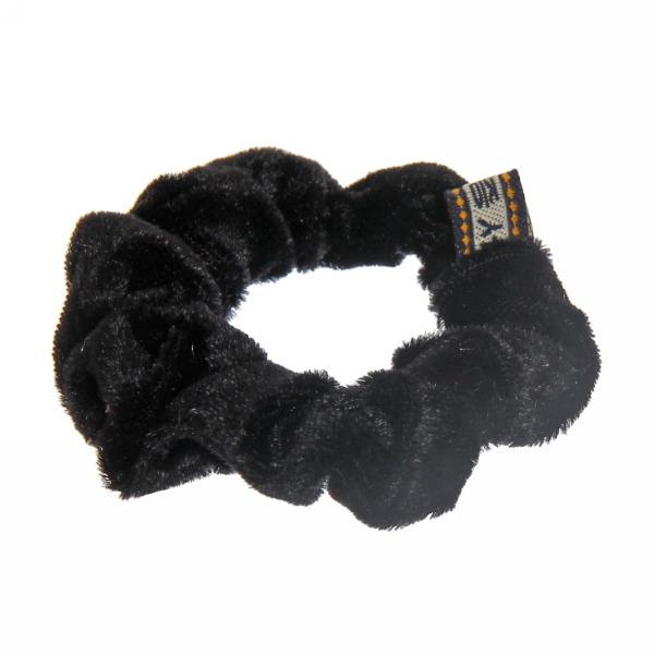 Резинка для волос 1шт ″Бархат″, цвет черный d-8см купить оптом и в розницу