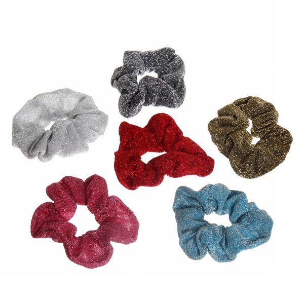 Резинка для волос люрекс 6 цв 591-15 купить оптом и в розницу