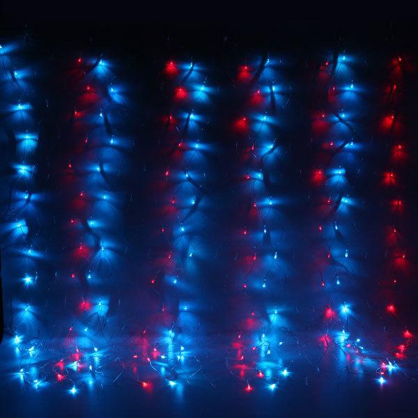 Сетка светодиодная 1,6 х 2м, 300 ламп LED, Мультицвет, 8 режимов, прозр.пров. купить оптом и в розницу