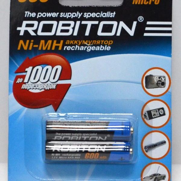 Аккумулятор Robiton R-03/AAA/600 mAh BL*2 купить оптом и в розницу