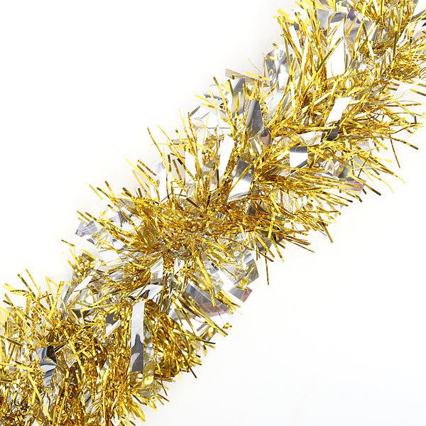 Мишура новогодняя 2 метра 9см ″Праздничное настроение″ серебро, золото купить оптом и в розницу