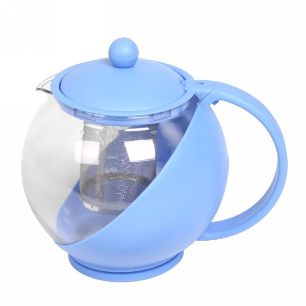Чайник заварочный стеклянный 1200 мл голубой купить оптом и в розницу