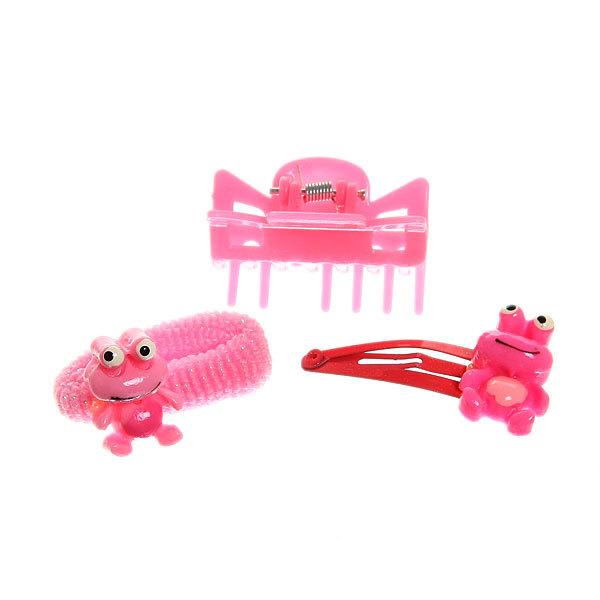 Набор для волос детский 9шт ″Лягушенок″, цвет микс (резинки, краб и зажимы) купить оптом и в розницу