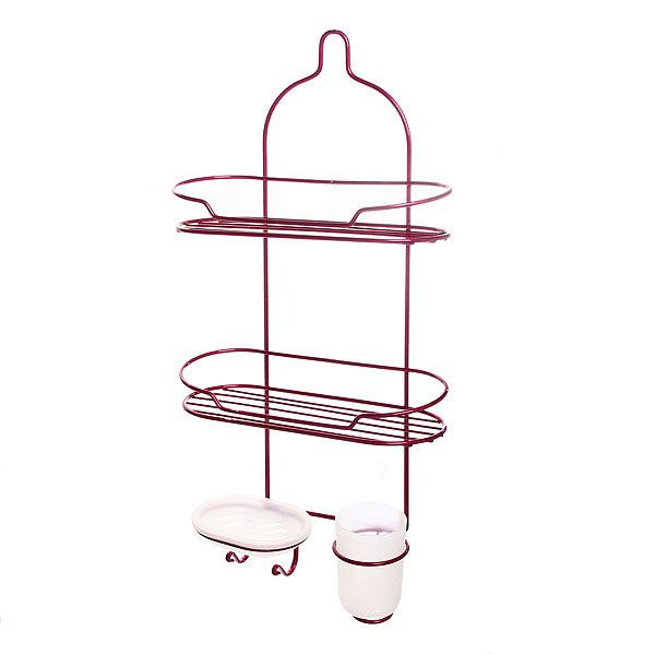 Полка для ванны металлическая 57х27х11.5см. розовая E02-C купить оптом и в розницу
