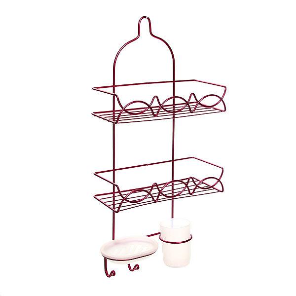 Полка для ванны металлическая 56,5х27х11см. розовая E01-C купить оптом и в розницу