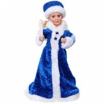 Снегурочка музыкальная 40см в синем платье купить оптом и в розницу